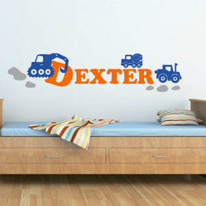 personalized boys room wall decal with construction trucks