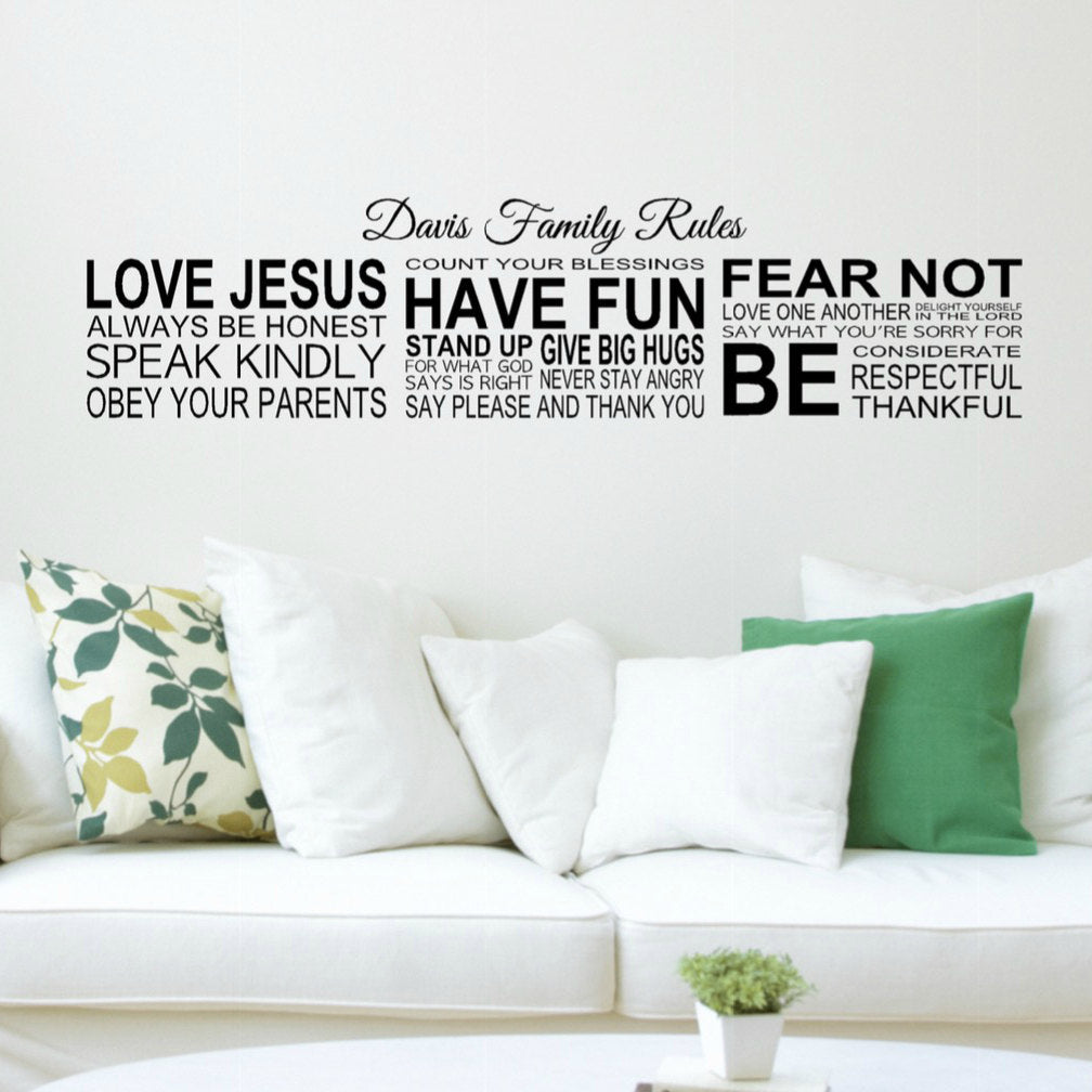 Personalized Family Name Wall Decal With Christian Family Rules In Living  Room Setting