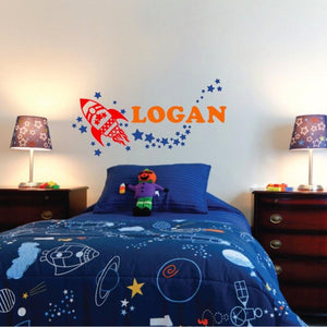 rocket ship vinyl wall decal with boy's name in custom colors