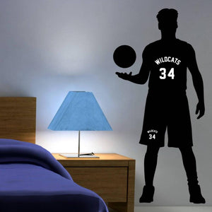basketball player personalized and custom vinyl wall decal for boys bedroom