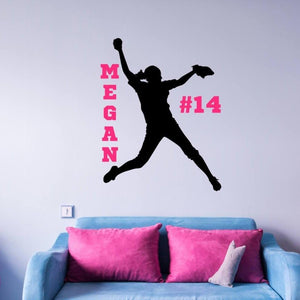 girl's softball black vinyl wall decal with name and number