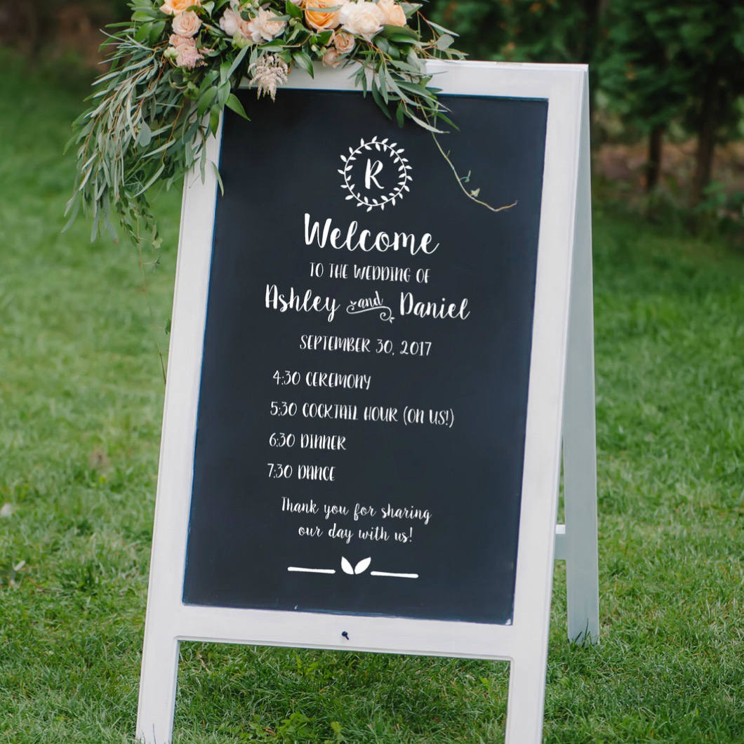 wedding schedule of events sign wedding program sign vinyl written