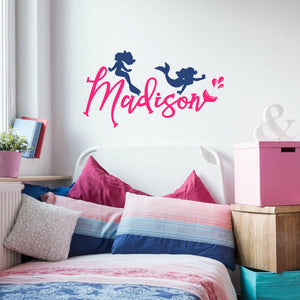 Madison pink and blue vinyl decal of mermaids for girl's bedroom