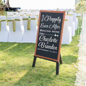 our happily ever after begins here personalized white vinyl decal with bride and groom's initials