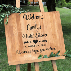 Welcome to Emily's Bridal Shower with date vinyl sign decal that can be personalized with Bride's name