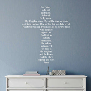 white vinyl lord's prayer vinyl wall decal for bedroom