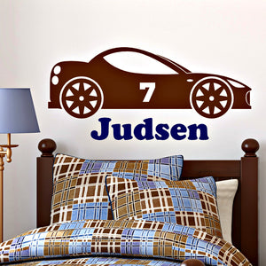 personalized name and race car design with custom number