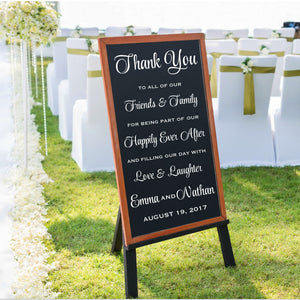 Thank You white vinyl wall decal sign for wedding