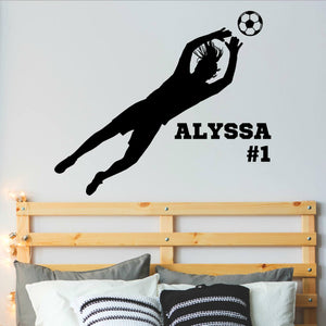 personalized girl's vinyl wall decal with soccer player goalie making a save
