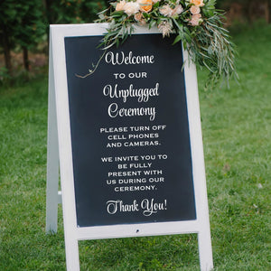welcome to our unplugged ceremony vinyl sign decal for wedding
