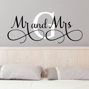 mr and mrs G custom newlywed bride and room wall decal for bedroom