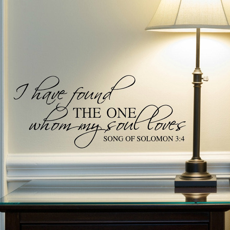 I Have Found The One Whom My Soul Loves Religious Living Room Wall Decal · Bible  Verse Wall Decals ...