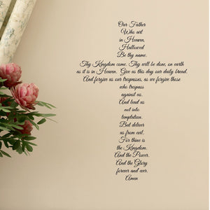 The lord's prayer cross shaped vinyl wall decal