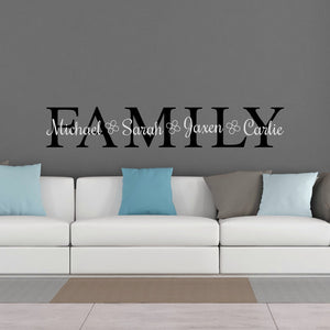 family personalized vinyl wall decal in living room