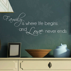 Family is where life begins and love never ends  white vinyl wall decal in bedroom