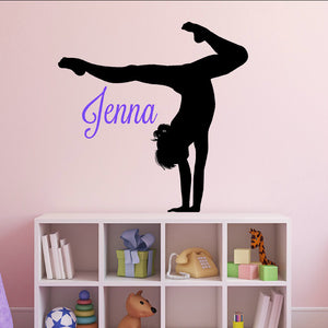 female girl gymnast personalized vinyl wall decal