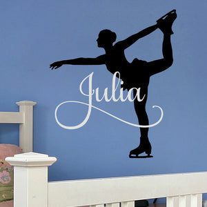 personalized girl's figure skating vinyl wall decal