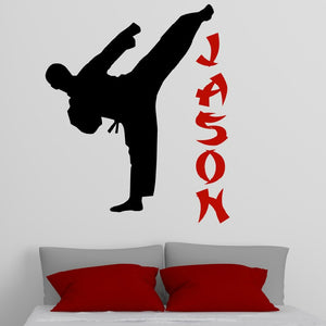 vinyl karate wall decal with child's name