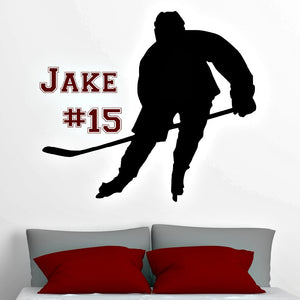 personalized hockey decal with name and team number