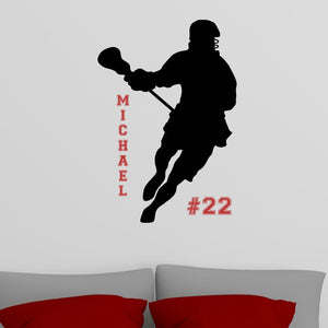 personalized lacrosse black vinyl wall decal with name and number