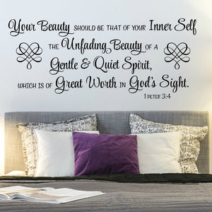Beauty christian vinyl wall decal for living room
