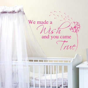 We made a wish and you came true pink vinyl wall decal with dandelion blowing in the wind