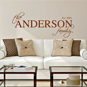 The Anderson family black vinyl wall decal which can be personalized with family last name