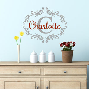 Charlotte personalized vinyl wall decal with custom color options