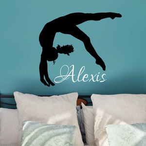 personalized gymnast wall decal for girl's bedroom