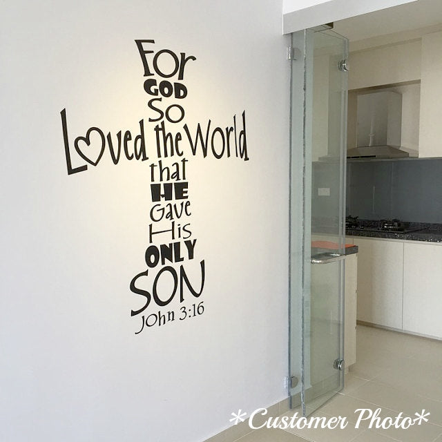 Scripture Wall Decals   John 3:16   For God So Loved The World
