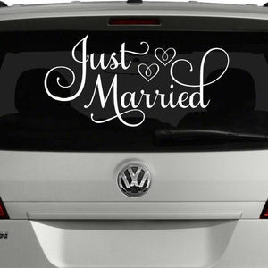 just married white vinyl car decal