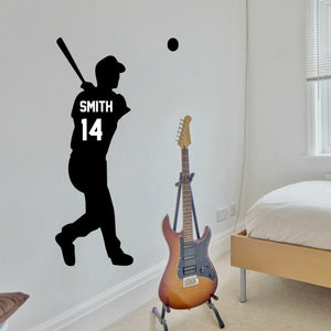 baseball player vinyl wall decal for bedroom with baseball bat and personalized with player's name and number