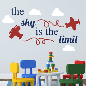 the sky is the limit airplane and clouds vinyl wall decal for children's room