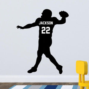 personalized football player black vinyl wall decal for bedroom