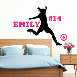 Girl's soccer player black vinyl wall decal with team number and player's name