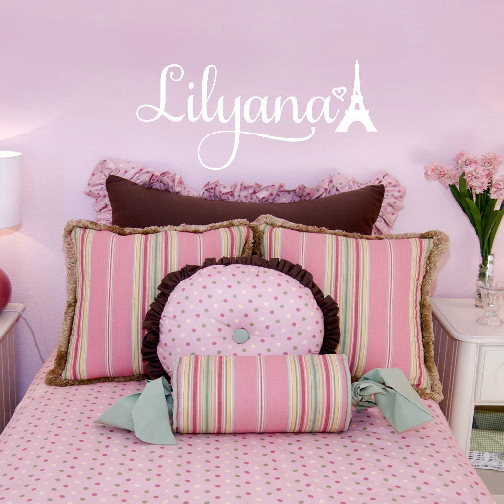 Lilyana Personalized Girlu0027s Bedroom Vinyl Wall Decal With Eiffel Tower  Design