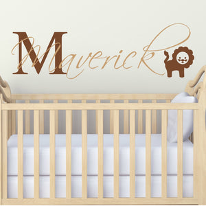 Personalized baby nursery room wall decal with lion and personalized name and coors