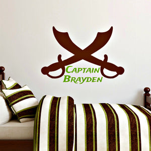 personalized vinyl wall decal with pirate swords