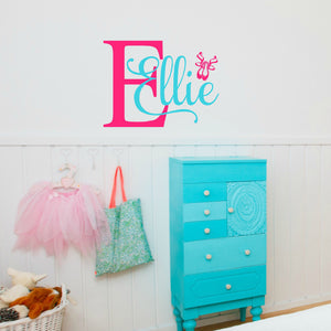 Ellie pink and teal girls ballerina vinyl wall decal for bedroom