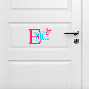 Ellie pink and teal girls ballerina vinyl door decal