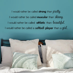 strong softball player girl's vinyl wall decal for bedroom