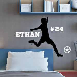 male soccer player vinyl wall decal kicking a ball with name and team number