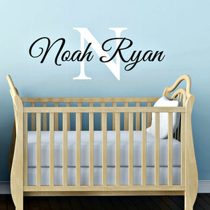 Noah Ryan personalized vinyl wall decal with name and initial that can be fully personalized