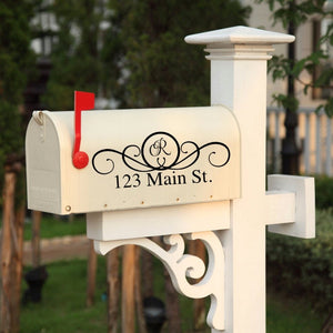 123 Main Street vinyl mailbox decals for holding cards and money at wedding