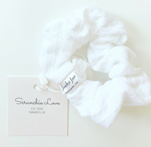 White Textured scrunchie