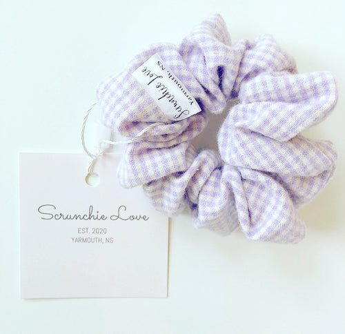 Purple Gingham scrunchie