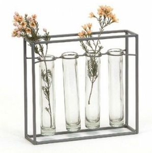 Four tube glass vase
