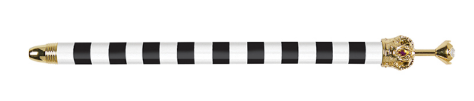 Black/white striped pen