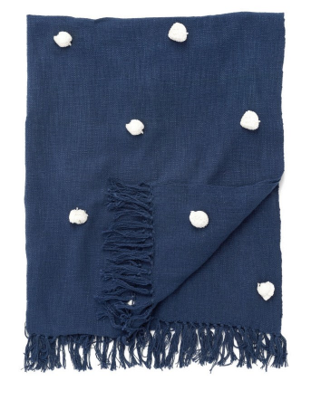 Navy pom pom throw