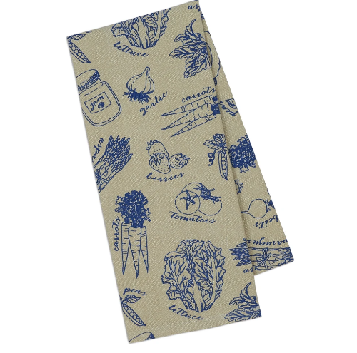 French blue market dishtowel